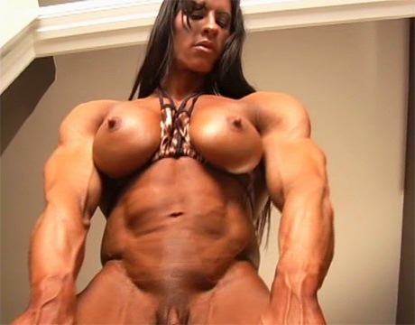 Long haired female body builder can